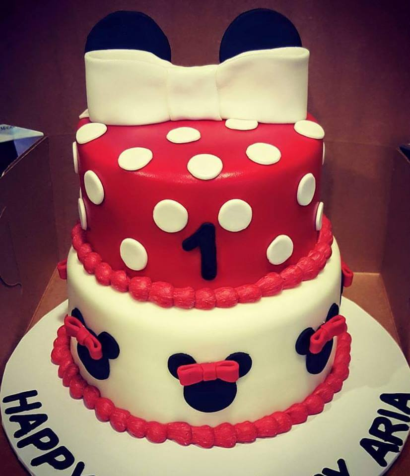 Red Minnie Mouse birthday cake   Custom Created Cakes by ...